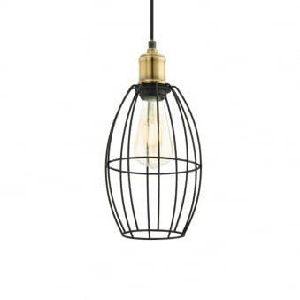 Denham Black and Brass Small Cage Pendant