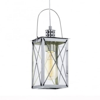 Donmington Chrome Lantern Style Pendant Light