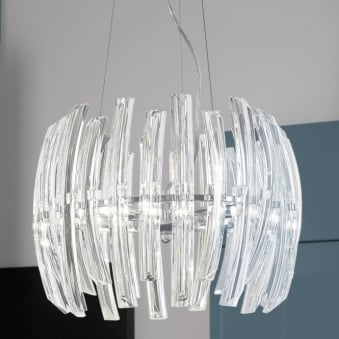 Drifter 6 Crystal and Chrome Pendant Light