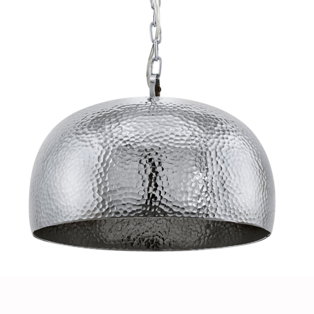 Eglo 49182 Dumphry Pendant Light In Hammered Chrome