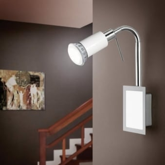 Eridan Flexible LED Single Spotlight in White and Chrome