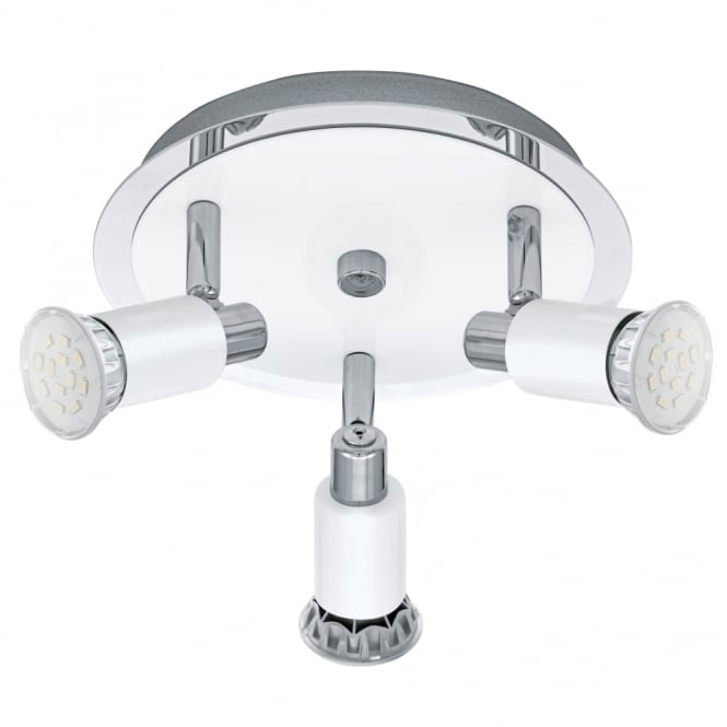 Eglo Eridan LED Triple Round Spotlight in White and Chrome