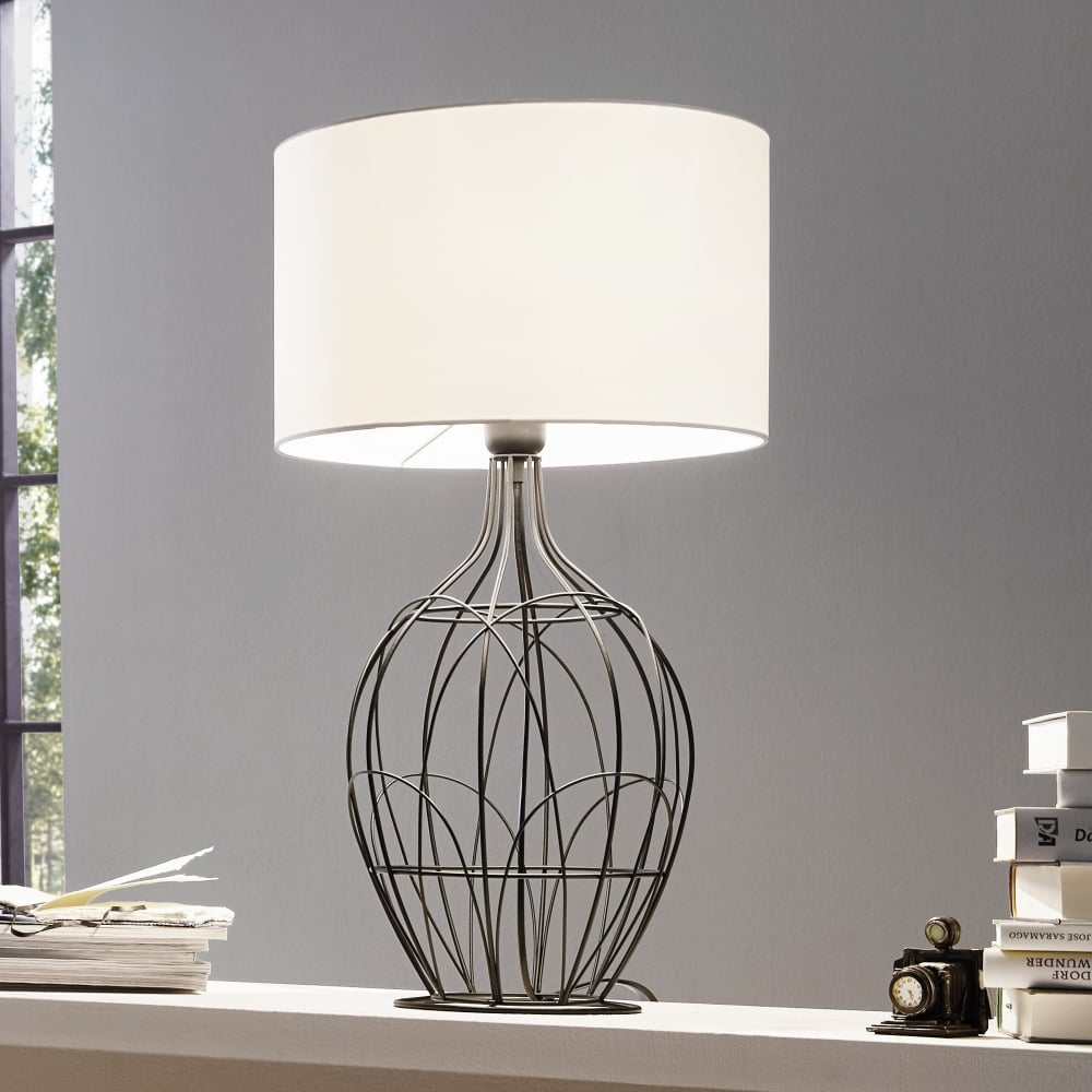 Eglo 94608 fagona large black metal cage table lamp with white shade fagona large black metal table lamp with white shade aloadofball