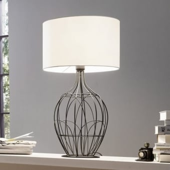 Fagona Large Black Metal Table Lamp with White Shade