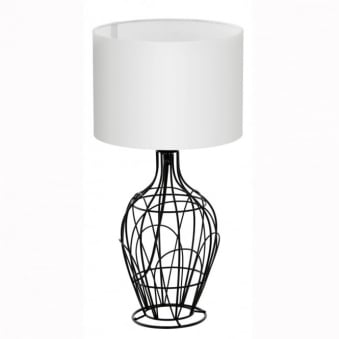 Fagona Small Black Metal Cage Table Lamp with White Shade