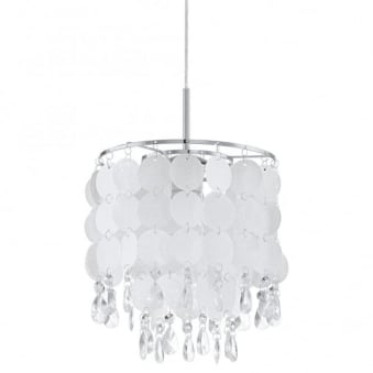 Fedra 2 Pearlescent Pendant Light with Crystal Accents