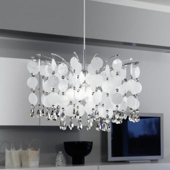 Fedra Large Crystal and Pearlescent Hanging Pendant Light