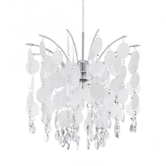 Fedra Small Crystal and Pearlescent Hanging Pendant Light