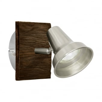 Filipina Single Spotlight in Satin Nickel and Wood
