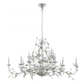 Flitwick 1 15 Light Silver and Crystal Chandelier