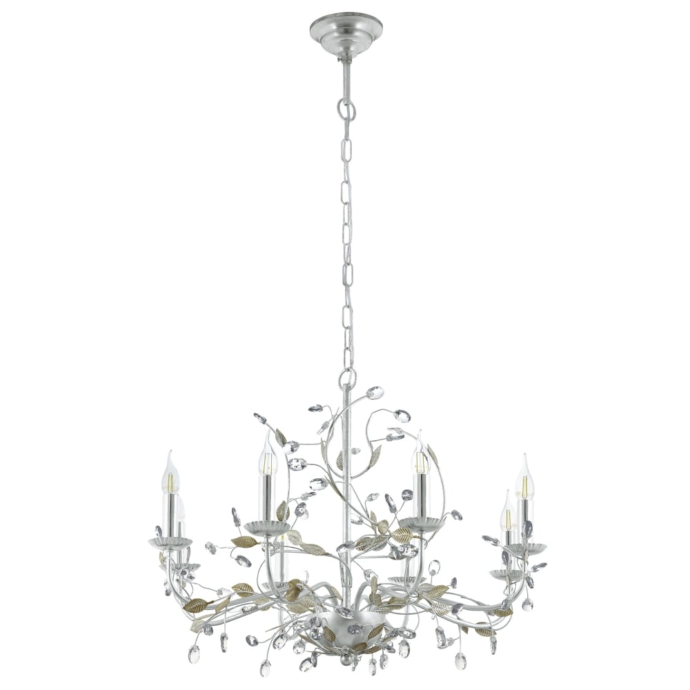 eglo  flitwick   light silver and crystal chandelier - flitwick   light silver and crystal chandelier