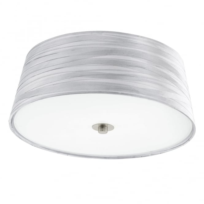 Eglo Fonsea Silver Fabric Wrap Look Ceiling Light