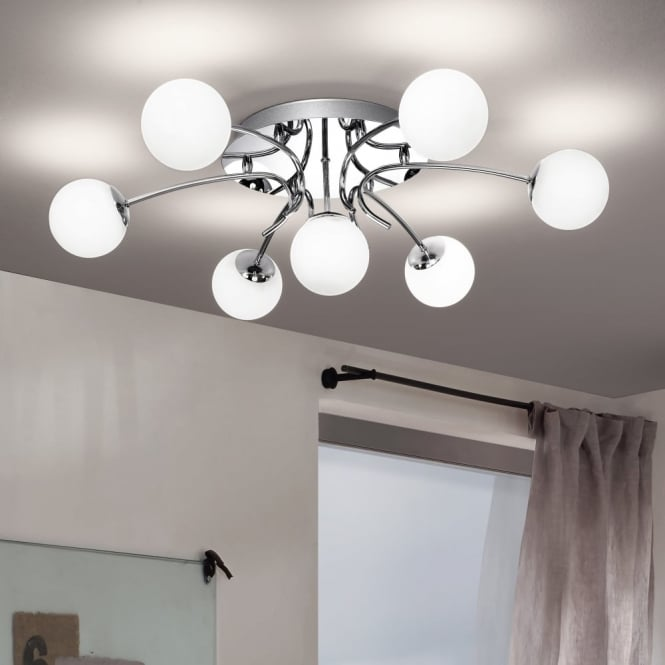 Eglo Gambo Opal Glass and Chrome Ceiling Light