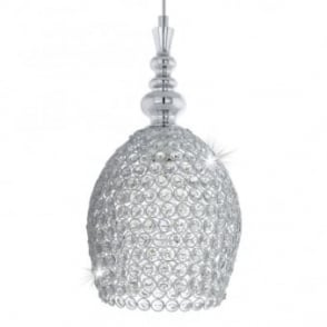 Gillingham Pendant in Crystal and Polished Chrome