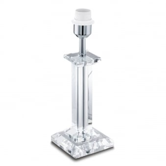 Glasbury Table Lamp in Crystal Clear Glass with Chrome Fitting