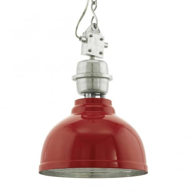 Red Industrial Chandelier: Eglo 49177 Grantham Red Vintage Industrial Pendant