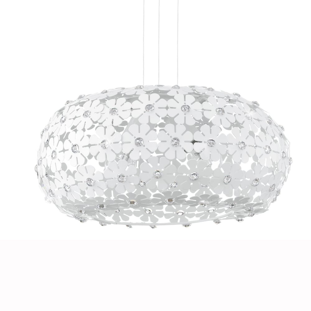 Eglo 92518 camile white flower pendant light hanifa white flower large globe pendant light arubaitofo Images