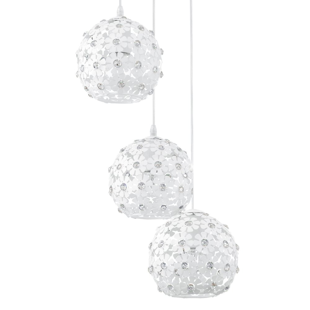 Eglo 92518 camile white flower pendant light hanifa white flower triple globe pendant light arubaitofo Images