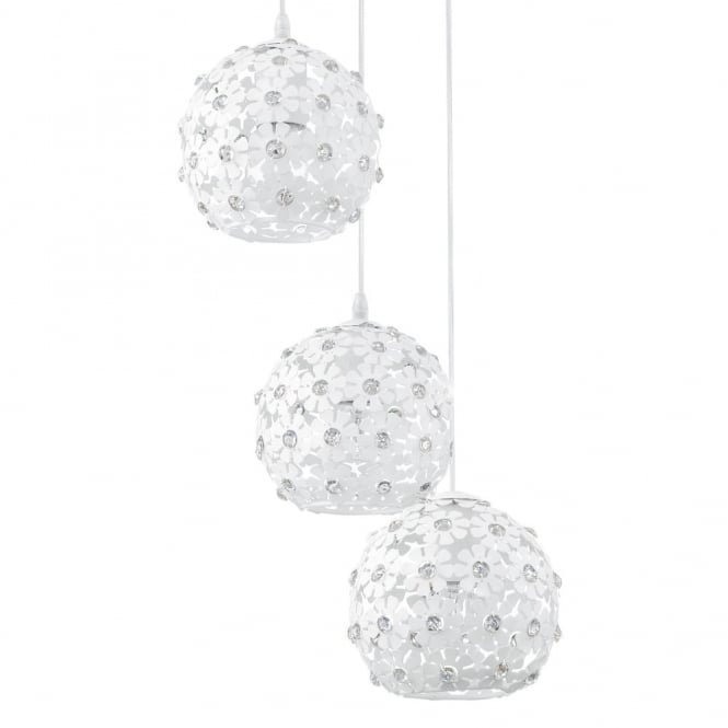 Eglo Hanifa White Flower Triple Globe Pendant Light