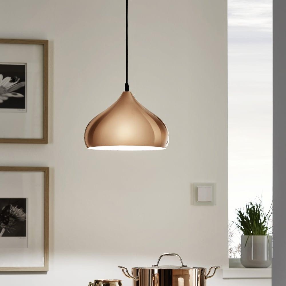 Superbe Hapton Polished Copper Pendant Light