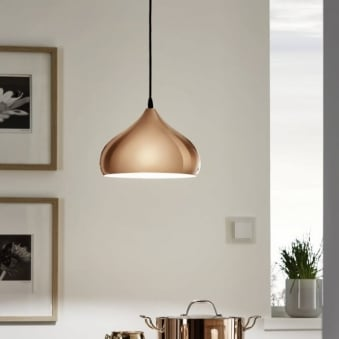 Hapton Polished Copper Pendant Light