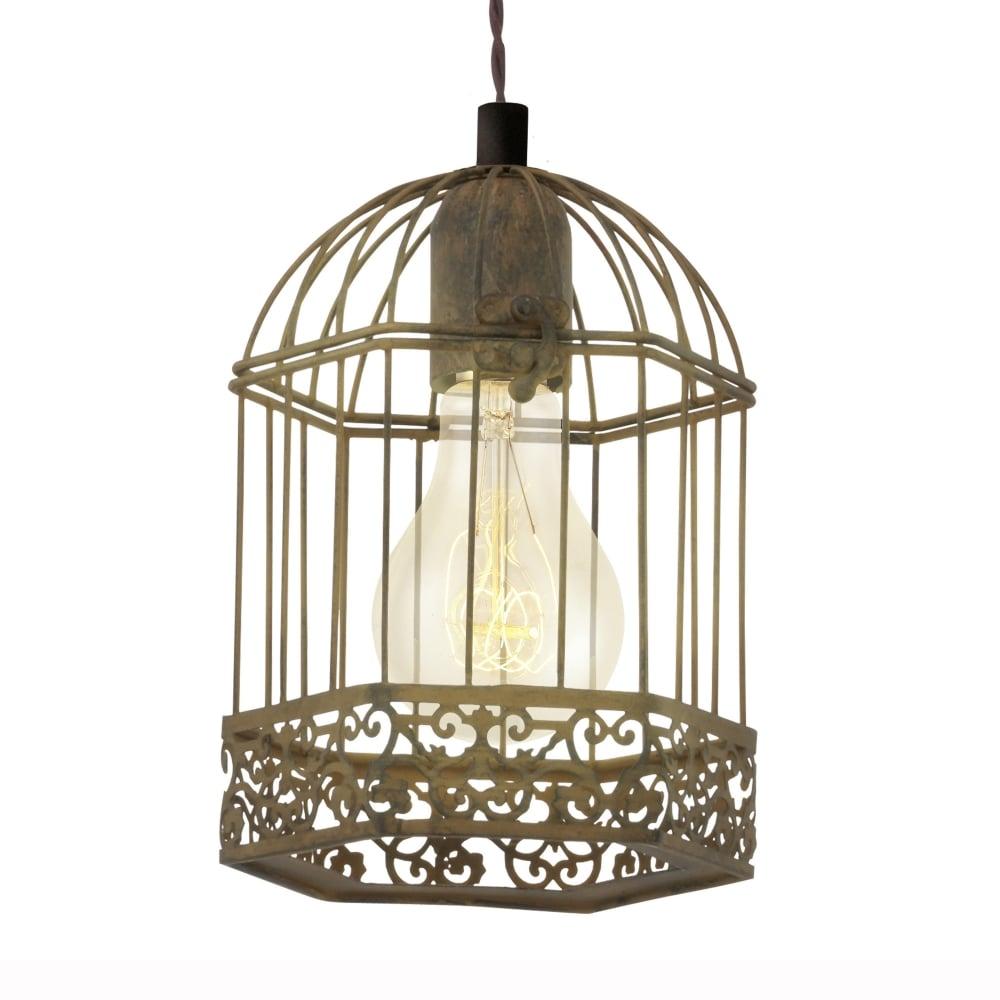 Eglo 49217 Harling Rusty Bird Cage Lantern Style Pendant Light