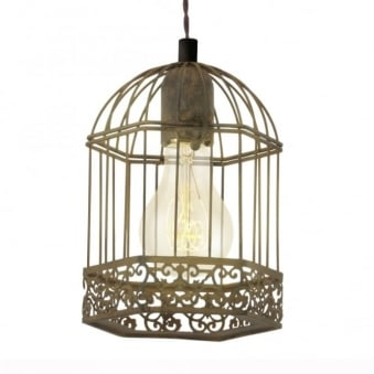 Harling Rusty Bird Cage Lantern Style Pendant Light