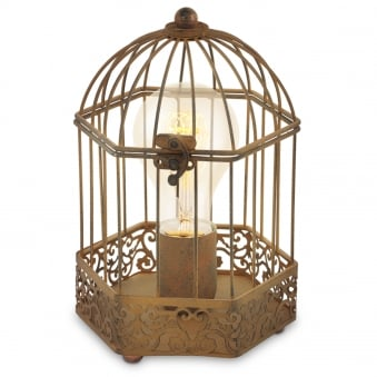 Harling Rusty Bird Cage Lantern Style Table Lamp