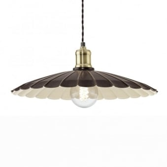 Hemington Large Vintage Pendant Light in Black Gold and Ivory