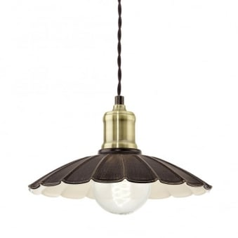 Hemington Small Vintage Pendant Light in Black Gold and Ivory