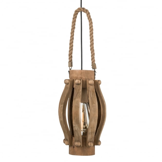 Eglo Kinross Wooden and Rope Pendant