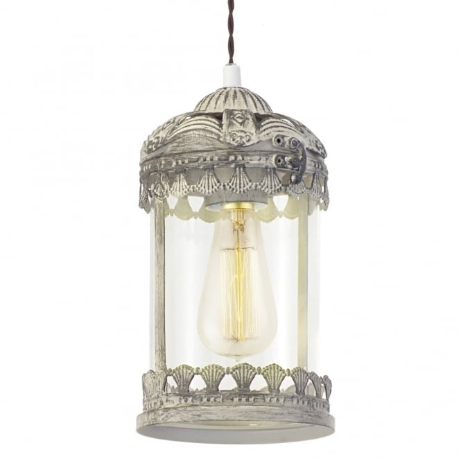 Eglo Langham Pendant in Patina Brown and Clear Glass