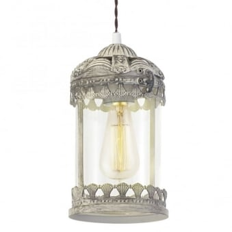 Langham Pendant in Patina Brown and Clear Glass