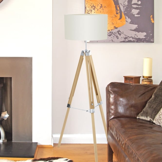 Eglo Lantada Tripod Floor Lamp in Light Wood