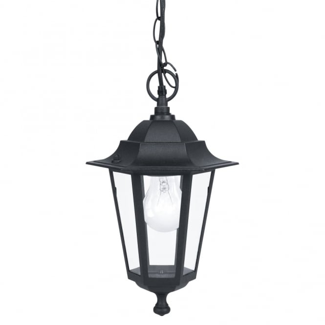 Eglo Laterna 4 Black IP44 Exterior Cast Aluminium Pendant Light