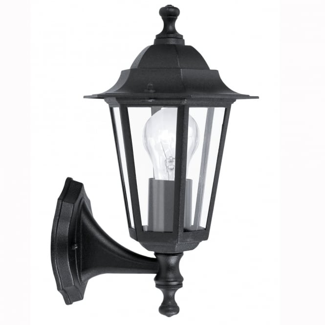 Eglo Laterna 4 Black IP44 Exterior Cast Aluminium Up Wall Light
