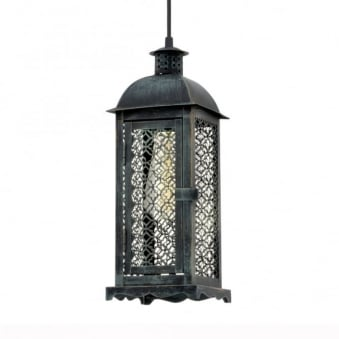 Lisburn 1 Patina Green Decorative Lantern Style Pendant Light
