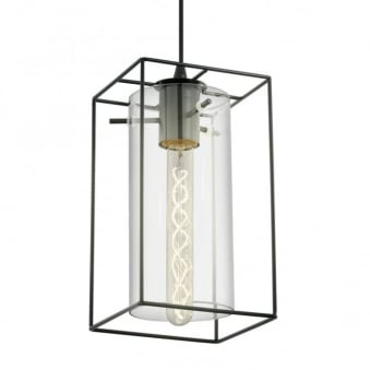 Loncino Single Pendant Light in Black Steel and Smoked Glass