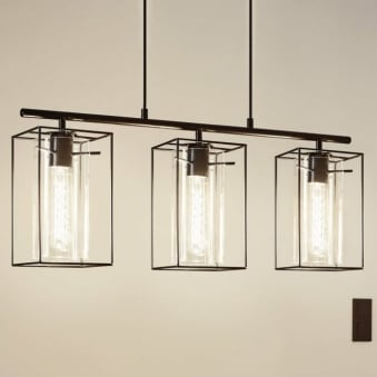 Loncino Triple Pendant Light in Black Steel and Smoked Glass