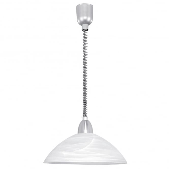 Eglo Lord 2 Rise and Fall Ceiling Pendant in White with Satin Nickel Detailing