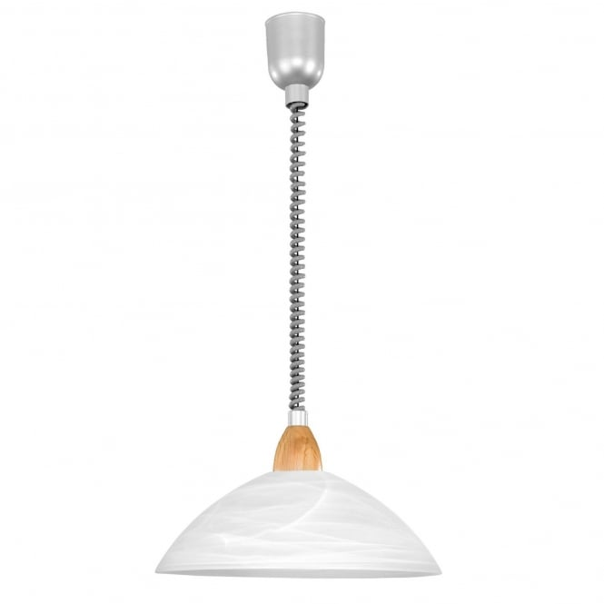 Eglo Lord 2 Rise and Fall Ceiling Pendant in White with Wood Detailing