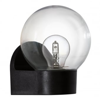 Lormes IP44 Outdoor Globe Wall Light in Black