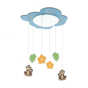 Louie Monkey and Leaf Mobile Ceiling Light