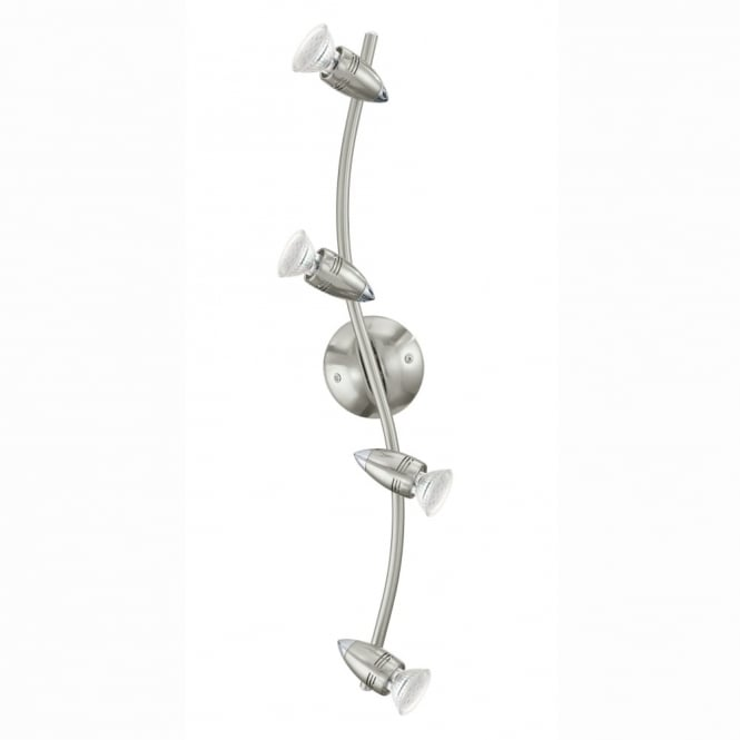 Eglo Magnum LED Four Adjustable Spotlight in Nickel and Chrome