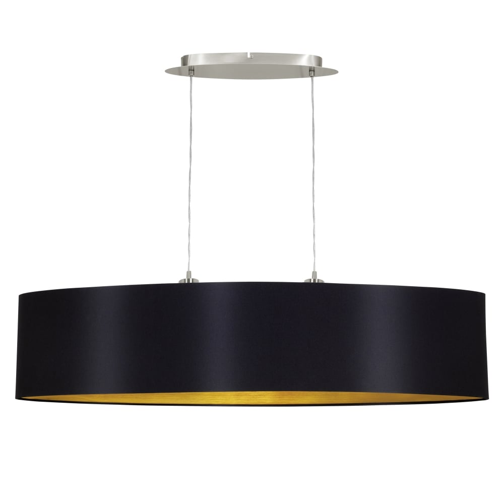 Maserlo Large 100cm Oval Black And Gold Fabric Pendant Light