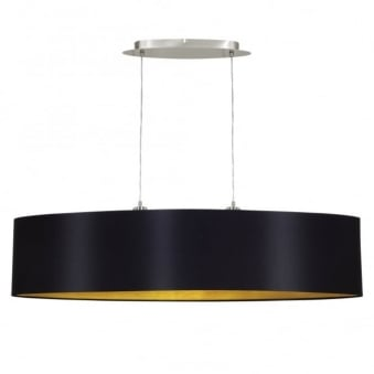 Maserlo Large 100cm Oval Black and Gold Fabric Pendant Light