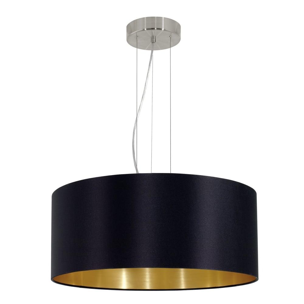 Beautiful Maserlo Large Black And Gold Fabric Pendant Light