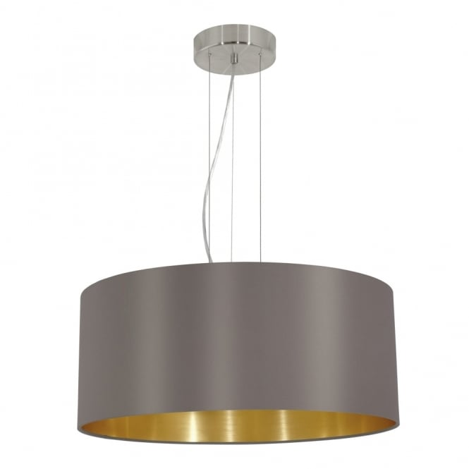 Eglo Maserlo Large Cappucino and Gold Fabric Pendant Light
