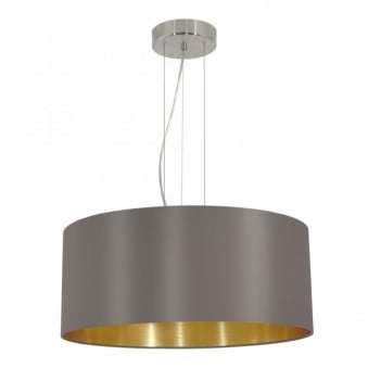 Maserlo Large Cappucino and Gold Fabric Pendant Light