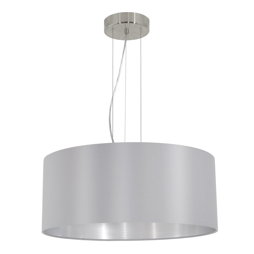 Maserlo Large Grey And Silver Fabric Pendant Light